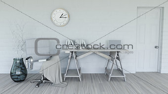 3D modern interior in shades of white