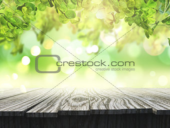 3D wooden table looking out to a defocussed sunny landscape