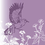 background vintage bird with  flowers