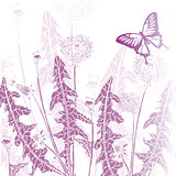 background vintage butterfly with flowers