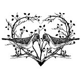 drawing of birds and heart