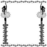 frame with girl and flourishes