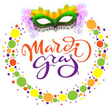 Carnival Mardi Gras mask and colored confetti. Lettering text greeting card template