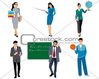 Six teachers on white