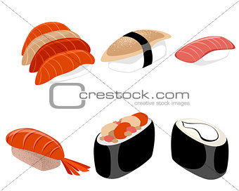 Six pieces of sushi