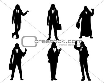 Six silhouettes of arab businessmen