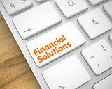 Financial Solutions on the White Keyboard Button. 3d.