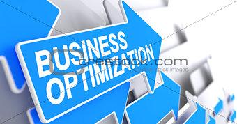 Business Optimization - Inscription on the Blue Arrow. 3D.
