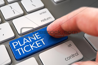 Hand Touching Plane Ticket Keypad. 3D.