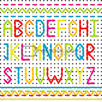 Embroidered alphabet and borders