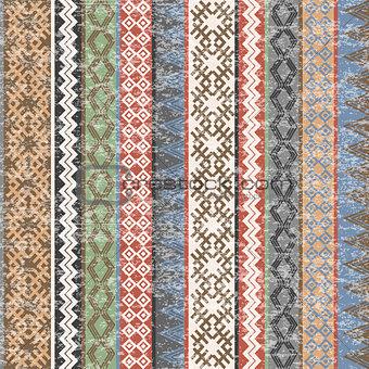 Vintage Ethnic geometric motifs background with transparent effe