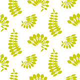 Fern green leaves seamless vector pattern.