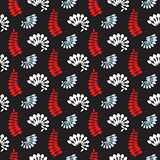 Fern dark blue and red leaves seamless vector pattern.
