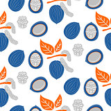 Blue and orange stylized walnut vector seamless pattern.
