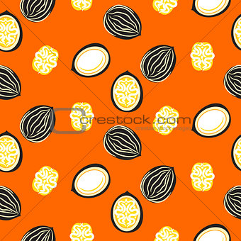 Blue and orange stylized walnut vector seamless pattern.