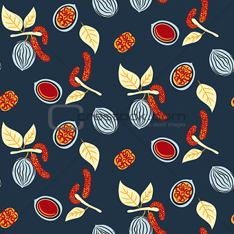 Blue and red stylized walnut vector seamless pattern.