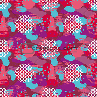 Camo red and violet seamless vector pattern.