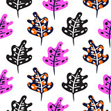 Artistic neon bright pink color leaves seamless pattern.