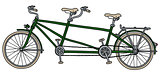The green tandem bike