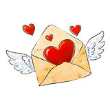 Flying envelope with love and hearts. Romantic design elements for Valentines day. Vector illustration.