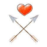 Hand drawn red heart and vintage arrows. Design elements for Valentines day. Vector illustration.