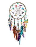 Ornate romantic dream catcher. Design elements for Valentines day. Vector illustration.