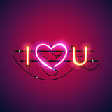 I Love You with Pink Heart Neon Sign