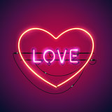Pink Love in the Heart Neon Sign