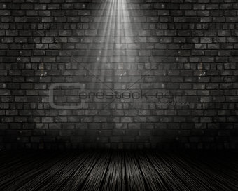 3D grunge interior with spotlight shining down