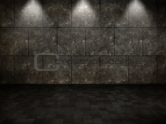 3D grunge interior with tiled floor and metal walls and spotligh