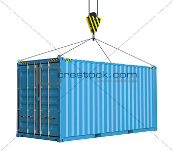 Service delivery - cargo container hoisted by hook