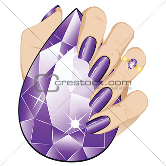 Amethyst Ring on a Hand
