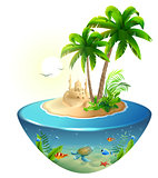 Paradise tropical island in sea. Palm, sand castle and sea turtle. Summer beach vacation holidays