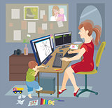 Young mother, woman working from home, freelancer
