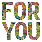 Words for you. Vector decorative zentangle object