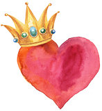 watercolor red heart with crown