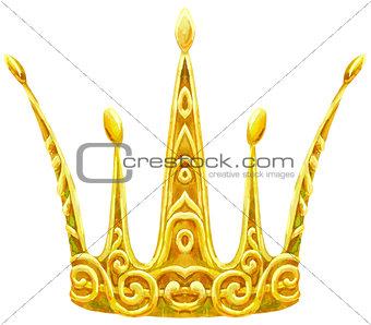 Watercolor golden crown Princess