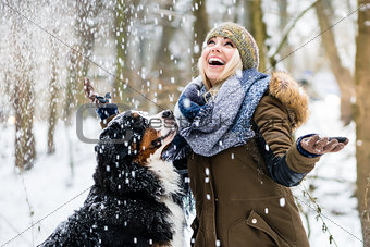 Woman walking her dog in the winter and both explore the snow to