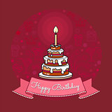 Vector Happy Birthday card. Big Cake with candle.