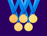 golden medals with path