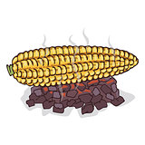 Isolate grilled corn ears fruit