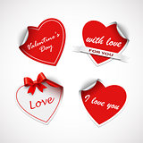 Valentine red heart stickers template