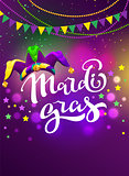 Banner for carnival mardi gras. Garland flag, handwritten text and clown cap symbol of masquerade