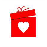 Gift box and heart symbol for Valentines day