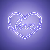 Love Heart Purple Neon Banner