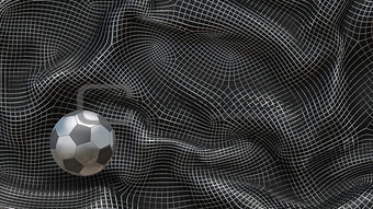 3D Illustration Metal Abstract Background Soccer Ball
