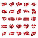 Danmark flag, vector illustration