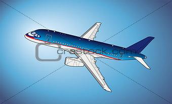 Modern russian airliner. Vector illustration