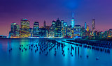 New York City at night. Manhattan skyline, USA