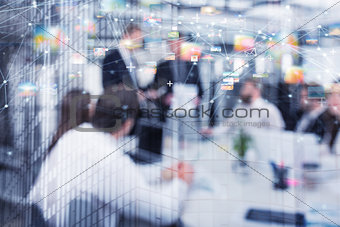 Blurred background of a business people with internet network effect